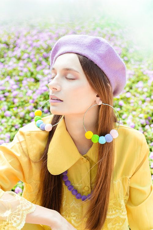 Dog Friends Beret and Rainbow Row Hoop Earrings by Elleni the Label  @irrisrray Photography @yuliia_kurochka Model @shermymakeup MUA