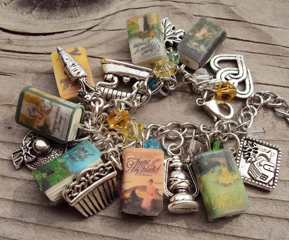 This is an AnneofGreenGables themed fringe charm bracelet. It features 7 of the Anne works and matching silver charms including:      1. Rainbow