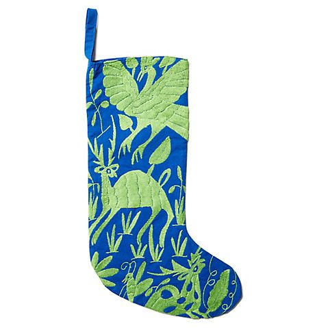 Otomi Embroidered Stocking, Blue $36.00