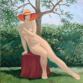 Art by Viorica Buga: In the Garden, oil on canvas, 70x70 cm