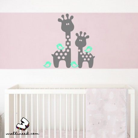 Baby Giraffes And Birds Nursery Wall Decals Wall Decals from wallineed.com