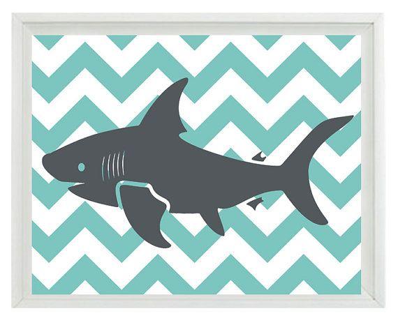 Requin Art Print Set Chevron pépinière Aqua par RizzleandRugee