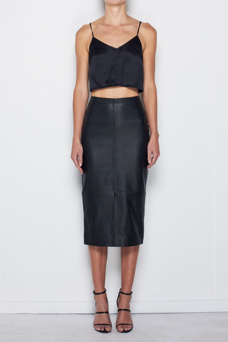 MLM THE LABEL - Winter Leather Pencil Skirt In Black