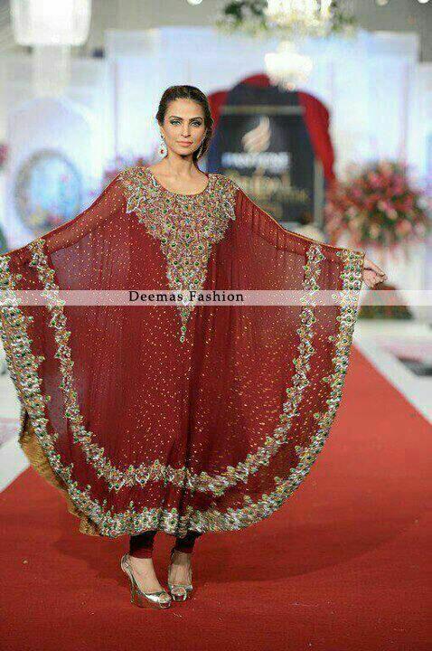 Pakistani Designer Dresses | Latest Pakistani Deep Red Designer Dress 2013