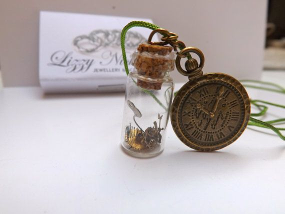 steam punk real watch parts charm bottle necklace by LizzyNicholls, £6.00