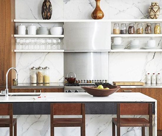 Another Angle Against The Exposed Shelving Marble Bench