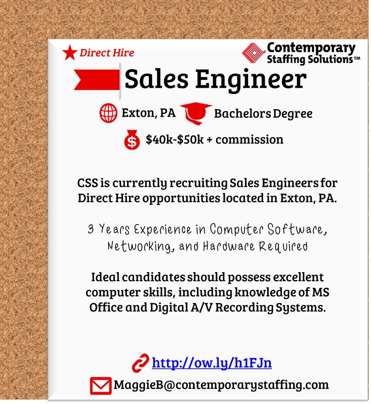 CSS is #hiring Sales Engineers in Exton, PA l $50,000 yr l Email - sales engineer resume