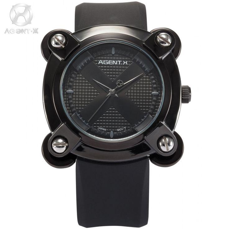 28.99$  Watch here - http://aliu6u.shopchina.info/go.php?t=32348498090 - AGENTX Brand Black Sport Watch X Design Square Screw Analog Silicone Strap Relogio Quartz Clock Male Men Military Watch / AGX047 28.99$ #magazineonlinewebsite