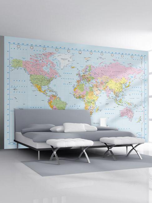 World Map Wall Mural 232 x 315 cm
