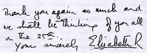 The Queen's cursive.