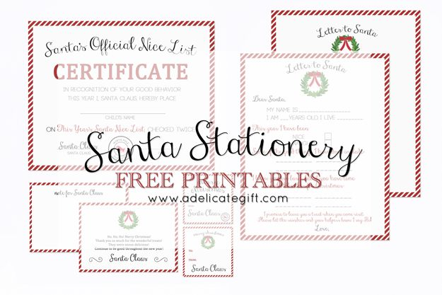 A free printable collection of Santa Stationery includes: gift tags, nice list certificate, letter to santa, note cards, etc