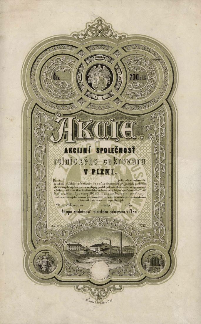 Akcijní společnosť rolnického cukrovaru v Plzni (Actien-Gesellschaft Landwirtschaftliche Zuckerfabrik in Pilsen). Akcie na 200 Zlatých. Plzeň (1870).