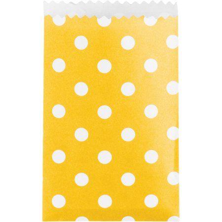 School Bus Yellow Polka Dot Treat Bags, 20pk