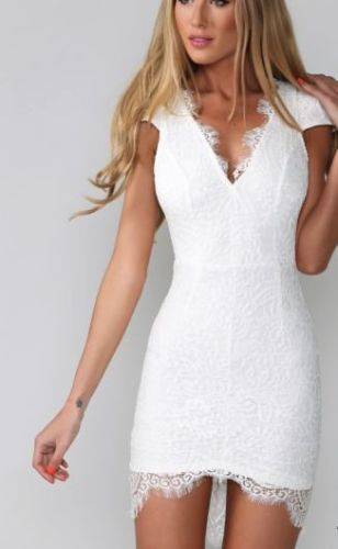 With the Lace irregular dress ,you would be more sexy and matura.Just like the model,you looked more confident and charming.Why not take one for your party? Material:Lace Size:S,M,L,XL Color:White Col