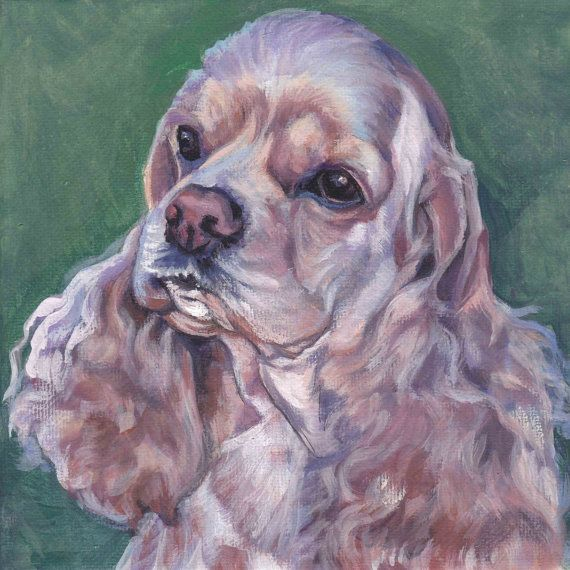 American Cocker Spaniel portrait Canvas print of LA Shepard painting 8x8 dog art