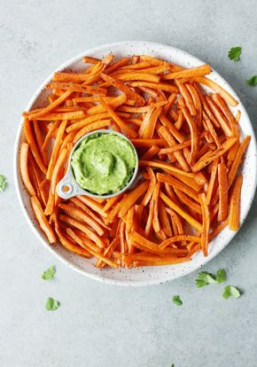 baked carrot fries w/ avocado chimichurri dipping sauce