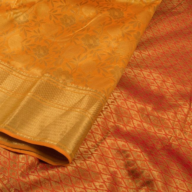 Handwoven Yellow Kanjivaram Silk Saree With Floral Motifs 10013825 - closeup - AVISHYA.COM