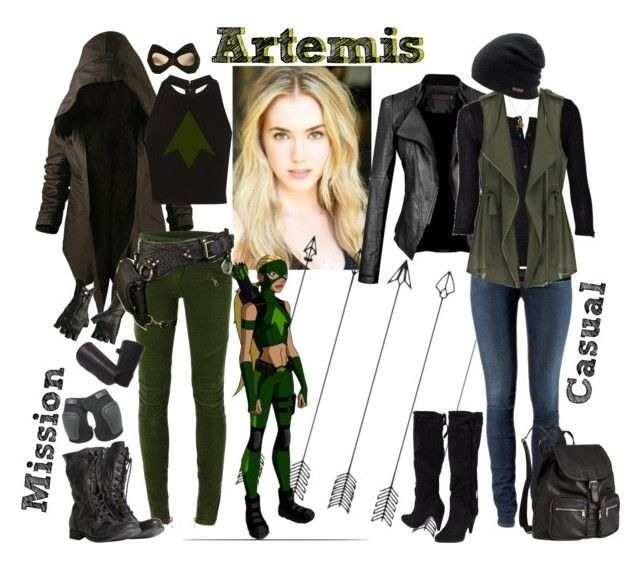 """Artemis - Young Justice Team"" by lulux3hdl ❤ liked on Polyvore featuring Nicholas K, Balmain, AllSaints, Alice + Olivia, H&M, Francesco Milano and Coal"