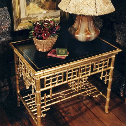 Chinoiserie end table with bamboo form and bookbinder's leather insert, by Ralph Lauren.