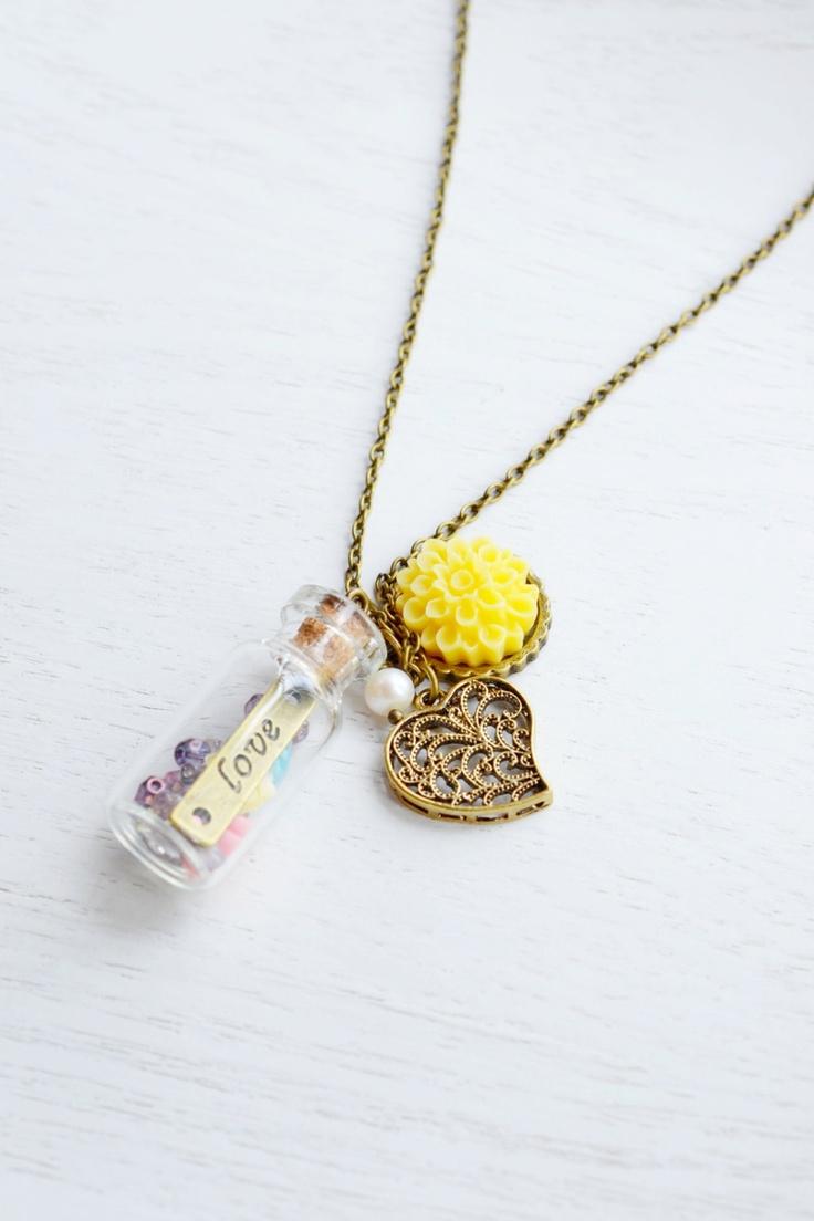 Message in A Glass Bottle Necklace,Cork Bottle,Miniature Bottle Charm  Pendant,Bottle