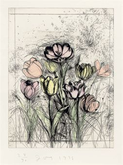 Jim Dine - A Temple of Flora (D'Oench & Feinberg 9-17), 1978-  etching with drypoint and hand-colouring