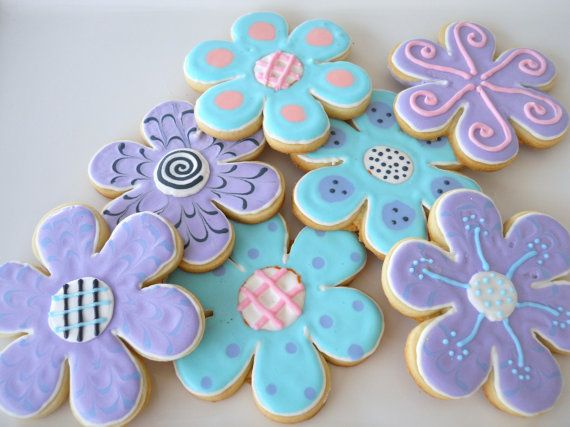 Blue and purple flower cookies