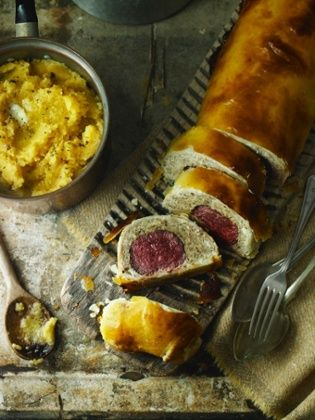Venison wellington using mushrooms and chicken mousse. Recipe Tom Kerridge via The Guardian