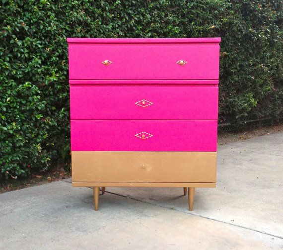 Golddipped Hot Pink Mid Century Modern Tallboy by theHouseofWillow