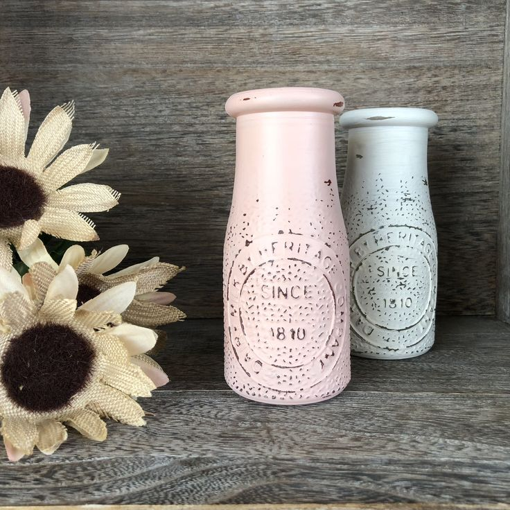 Painted Milk Jug, Rustic Blush Pink, Distressed Heritage
