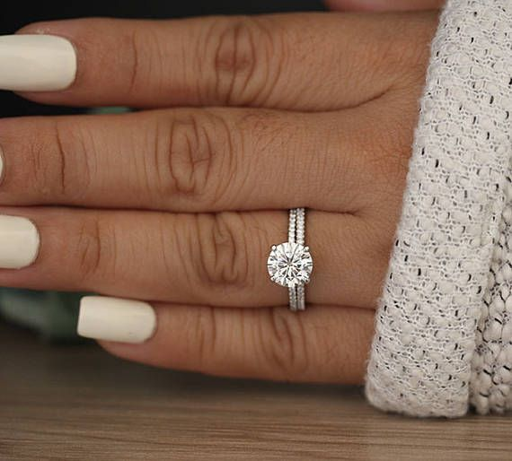 Moissanite Round 8mm Engagement Ring, Bridal Ring Set, Diamond Wedding Band, Forever Classic Moissanite White Gold Ring, Diamond Ring