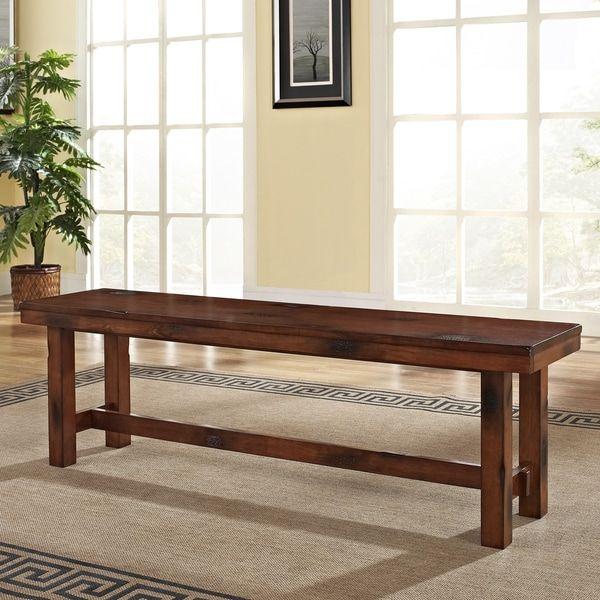 Rustic Dark Oak Brown Wood Dining Bench