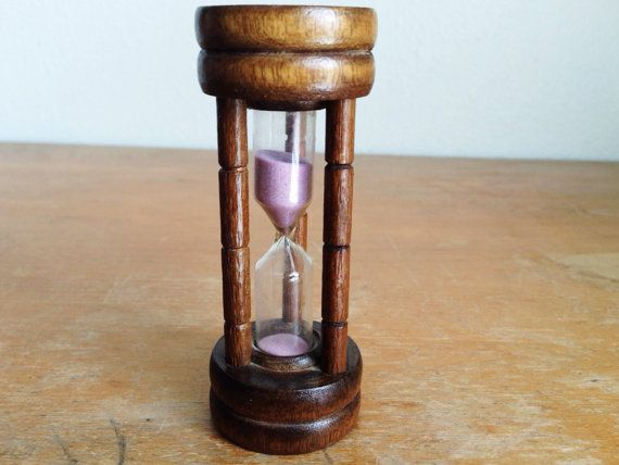 Vintage Wood Hourglass with Lavender Pink Sand Timer - Wood and Plastic One Minute or 60 Seconds - Kitchen Counter Hourglass Sand Timer by LeBeauHaus