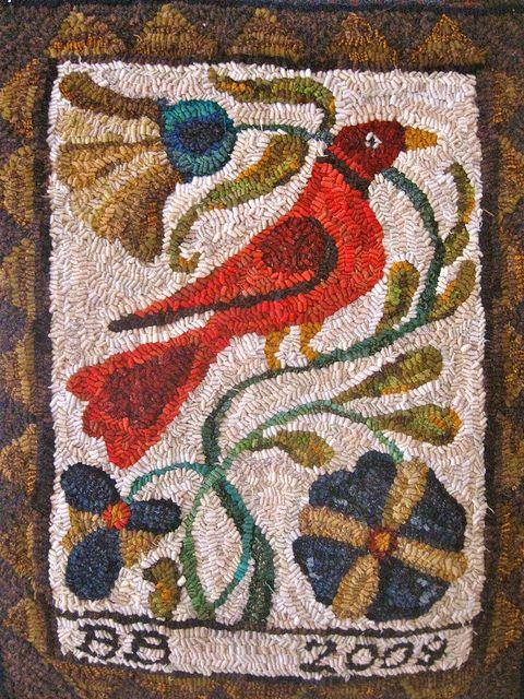 Fraktur Hooked Rug by {studiobeerhorst}-bbmarie, Brenda Beerhorst via Flickr