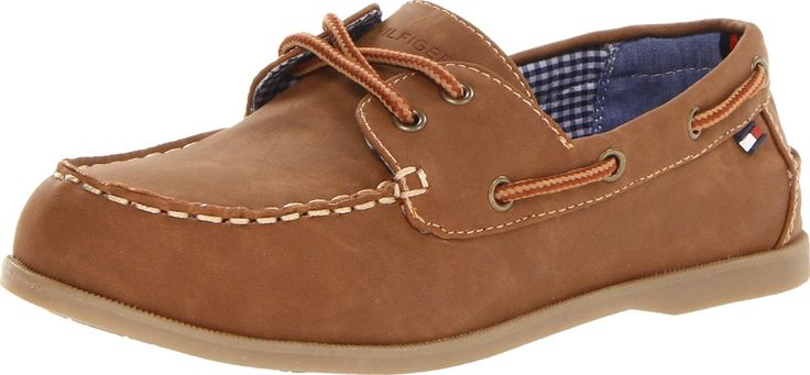 Tommy Hilfiger Kids Douglas Boat Shoe (Toddler/Little Kid/Big Kid),Brown,11 M US Little Kid. Lace up^Flexible sole^Sipped bottom^Non-marking outsole.