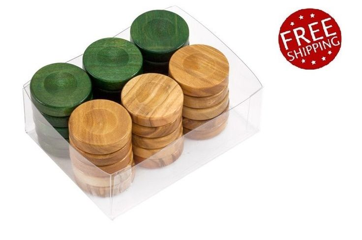 Wood Checkers Backgammon Pieces +Dice Natural & Green  Wooden 26mm x 30 Pieces #Manopoulos