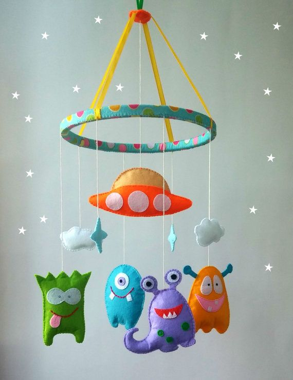Felt Nursery mobile-alien cot mobile-hanging crib by ZooToys