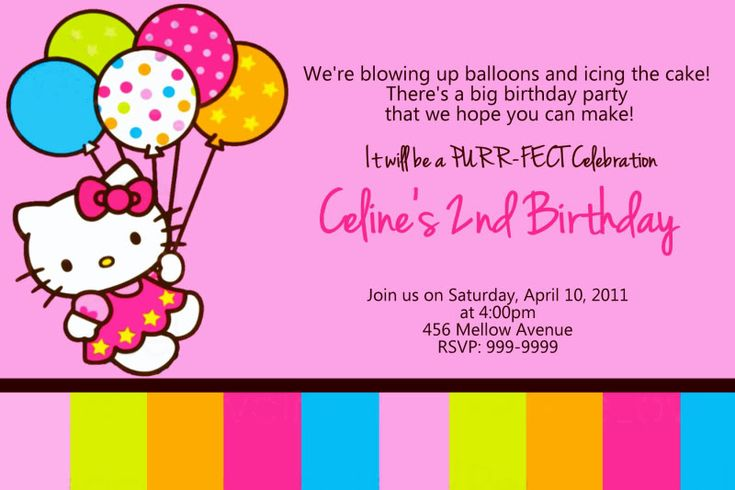 Invitation Wording E S Hello Kitty Party Pinterest