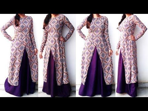cb9a6935adf DIY Designer Frontslit Long Gown Maxi Kurti Dress Cutting And Stitching  Tutorial - YouTube