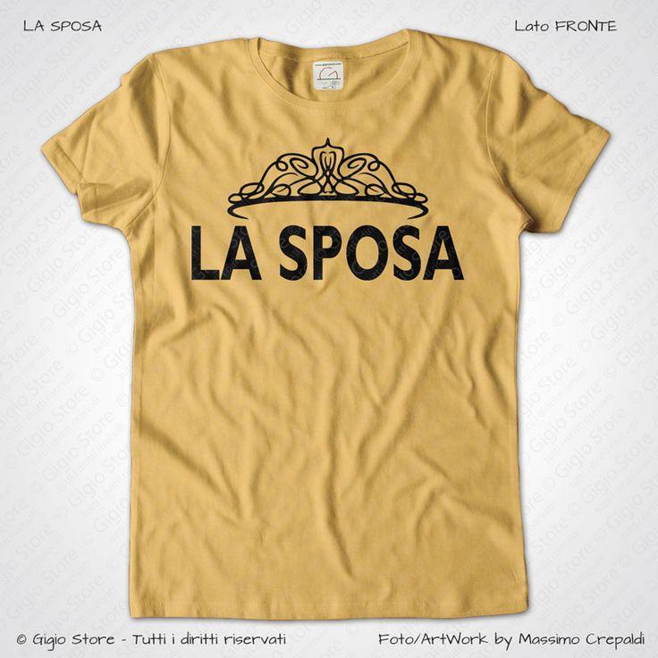 Magliette Matrimonio Addio Nubilato La Sposa T-Shirt colore Giallo Vintage Stampa Personalizzata Colore Crema Taglia XS-S-M-L-XL