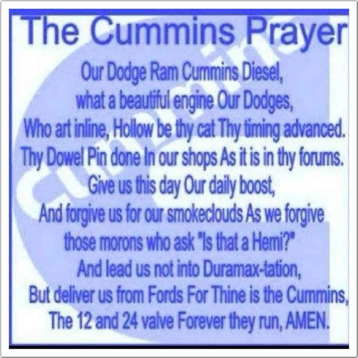 Dodge Cummins Sayings Dodge ram cummins prayer