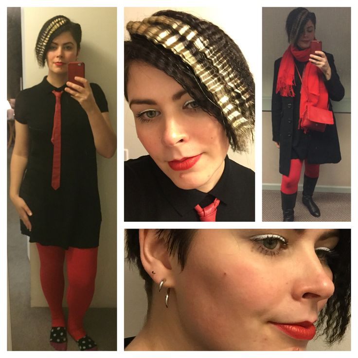 Dec. 24, 2015: tried out my new crimper today  so much fun! This little knit dress is surprisingly from Lacoste, I found it at Ross. The tie is vintage, leather, and my hubs' from when he was a kid. I channeled an 80's London fashion vibe putting these things together.