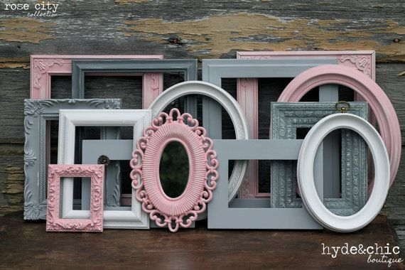 Baby Girl Nursery / Shabby Chic Decor / Girls Room / 6 Piece Distressed Picture Frame and Mirror Set / Rose City Collection