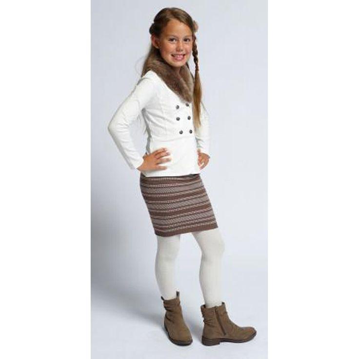 Pom Pom Vestje Met Bond Off White bij Minimoda. #Meisjeskleding #Meisjes #Kinderkleding