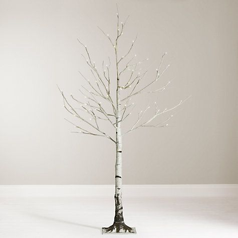 Buy John Lewis 4ft Pre-Lit Mossy Birch Christmas Tree, White Online at johnlewis.com