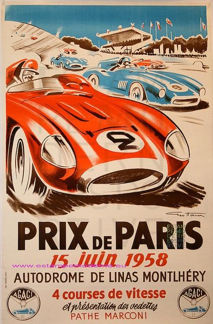 Geo Ham Grand Prix Paris 1958 Autodromoe De Monthlhéry Imp J. Moray Paris