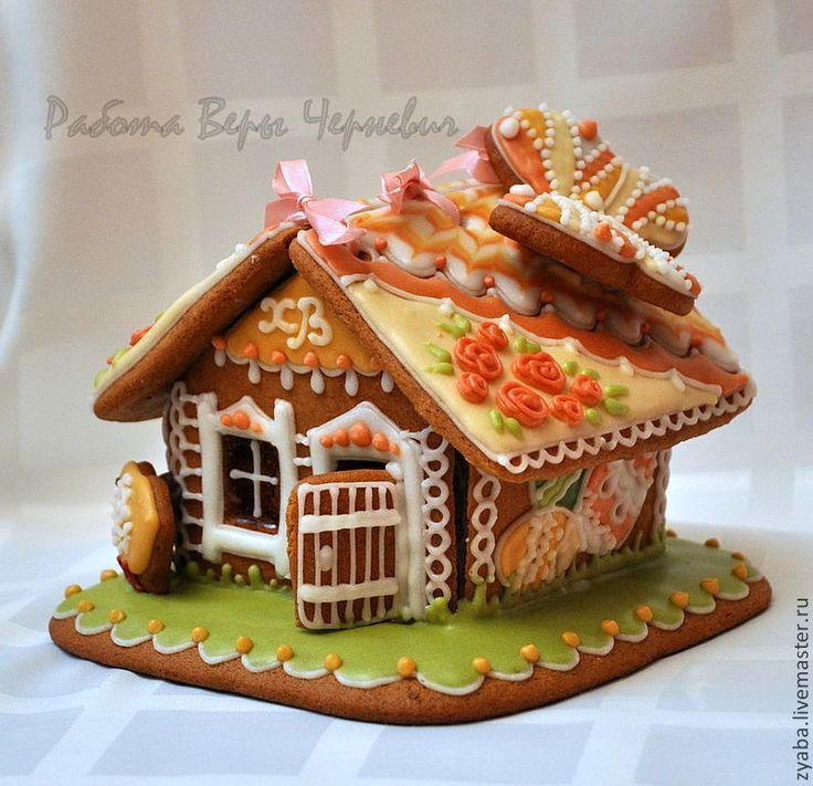 """Купить """"Пасхальный"""" пряничный пасхальный домик с бабочкой - пряник, расписные пряники, имбирное печенье"""