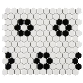 @Overstock - Reminiscent of Victorian-era tile mosaics, this SomerTile set features a smooth, glossy finish for a clean, stylish look. These floor tiles are perfect for any setting from modern construction to historical renovation.http://www.overstock.com/Home-Garden/SomerTile-Victorian-Hex-1-inch-Flower-Porcelain-Mosaic-Tile-Pack-of-10/7623597/product.html?CID=214117 $64.99