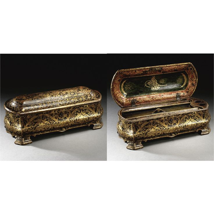 A Large Ottoman Lacquered Pen Box with the Tughra of Mahmud II, Turkey, Dated A.D.1830-1 sotheby's