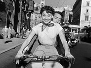 """Hepburn and co-star Gregory Peck in her first Hollywood film """"Roman Holiday"""""""