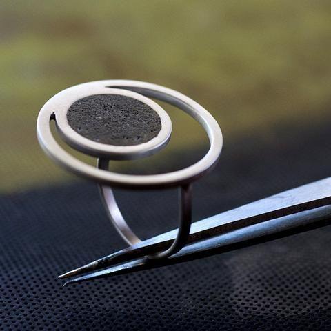 Orbit Concrete Ring, by BAARA Jewelry  #Orbit #Jewelry #Concrete #Cement #Design #Designer #Silver #Statement #Ring